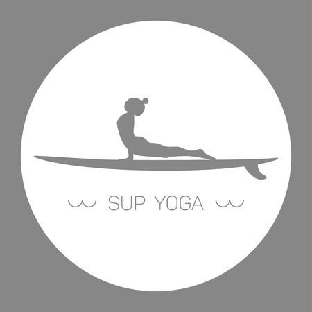 Logo for Stand up Paddle Yoga. Upward-facing dog. Grey and white circle.