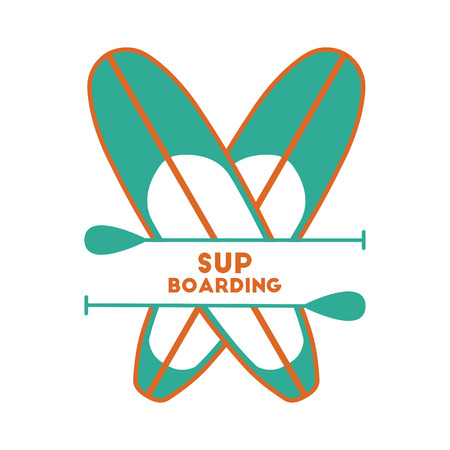 sup: Stand Up Paddle Surfing logo.Two boards. Green and orange.