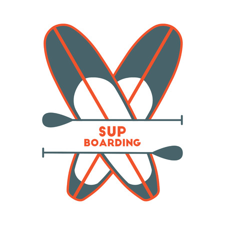 Stand Up Paddle Surfing logo.Two boards. Illustration