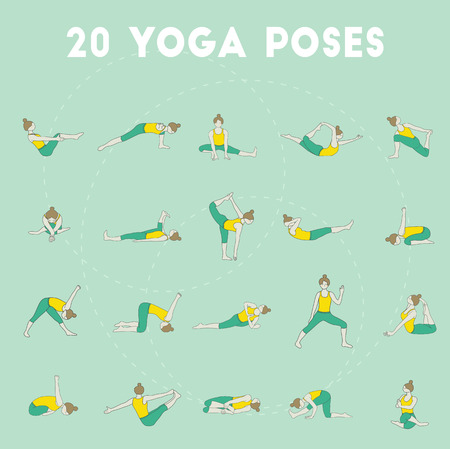 yoga class: Set of twenty yoga poses. Collection of asanas. Mint background. Illustration