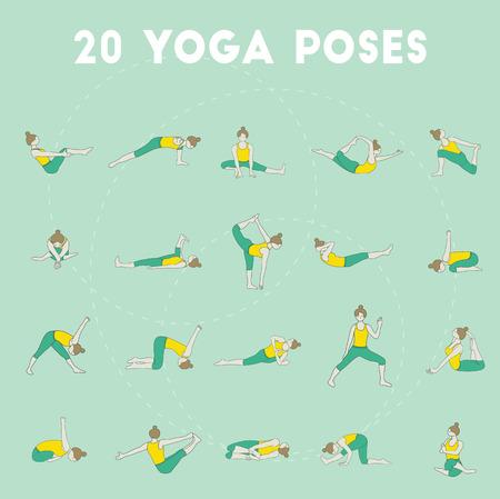 asanas: Set of twenty yoga poses. Collection of asanas. Mint background. Illustration