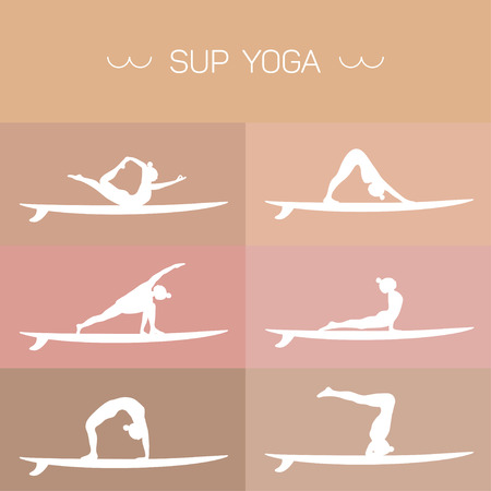 sup: Stand Up Paddle Yoga. Logo collection.