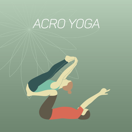 two minds: Couple practicing acroyoga. Flat design. Illustration