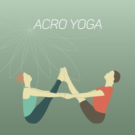 two minds: Couple practicing acroyoga. Flat design. Boat pose. Illustration