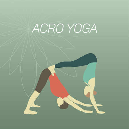 Couple practicing acroyoga. Downward facing dog posture and handstand. Flat design.