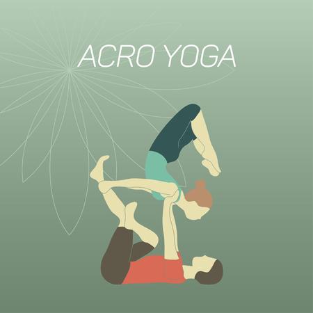 position d amour: Couple � pratiquer acroyoga. Design plat. Illustration