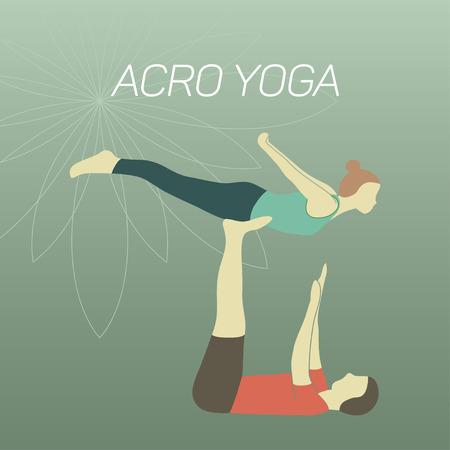 acrobatic: Couple practicing acroyoga. Flat design. Illustration