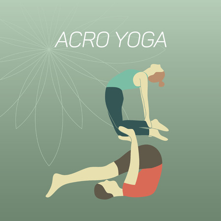 Couple practicing acroyoga. Flat design. Plough and Camel poses. Illustration