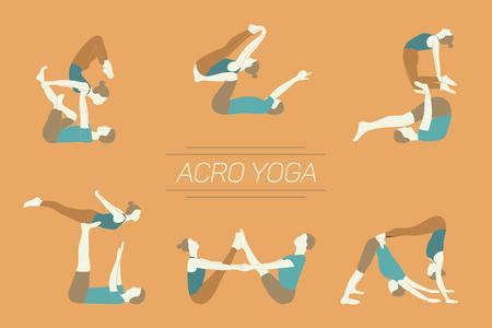 Set of acro yoga poses. Couple practicing asanas. Yellow background.