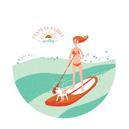 Stand Up Paddle Surfing. Young girl with dog on the board and green wave. Illustration