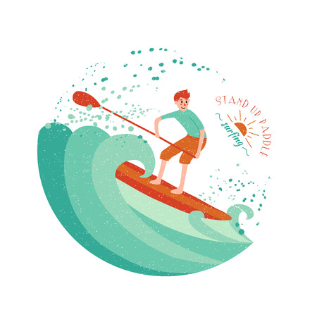 Stand Up Paddle Surfing. Young boy on the green wave. 版權商用圖片 - 58032607