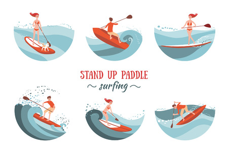 Boy and Girl Paddle Boarding on the Waves. Set of Illustratioons.