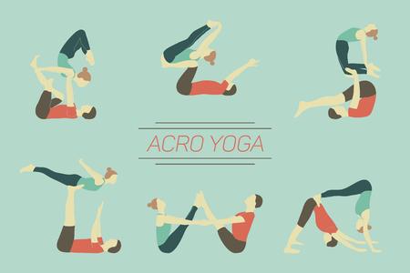 Set of acro yoga poses. Couple practicing asanas. 版權商用圖片 - 62243926