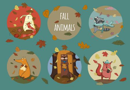 nutria caricatura: Conjunto de animales lindos de bosque de la caída.