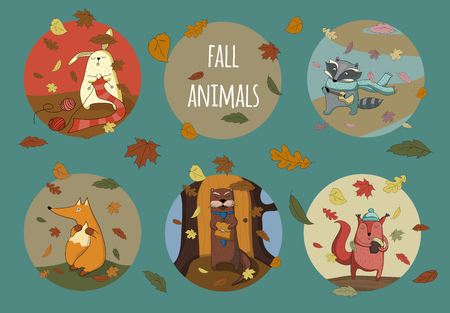 Set of cute animals from fall forest.