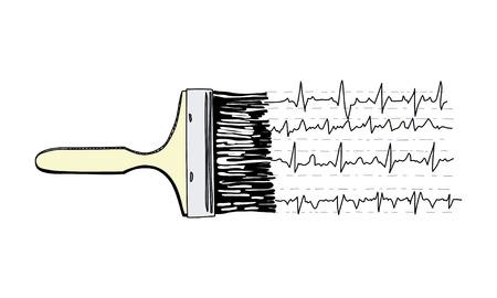 Art therapy. Brush painging cardiogram. 版權商用圖片 - 68632926