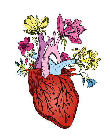 Blooming human heart. Concept hand drawn illustration. 向量圖像