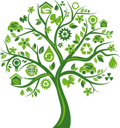 antipollution: Green tree with many environmental icons