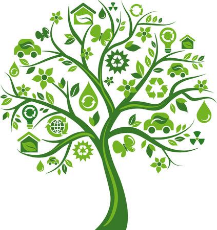 antipollution: �rbol verde con muchos iconos de medio ambientales Vectores