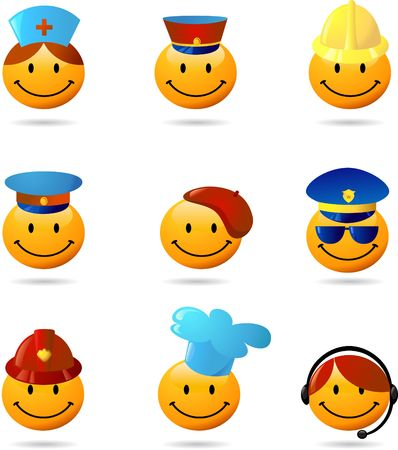 female police: Collection of styled smilies - professions theme Stock Photo