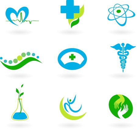 Un conjunto de iconos - tema de salud y medicina