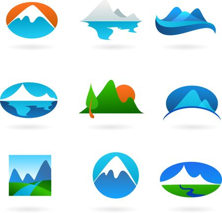 beach panorama: A set of elegant modern icons - mountain theme Stock Photo