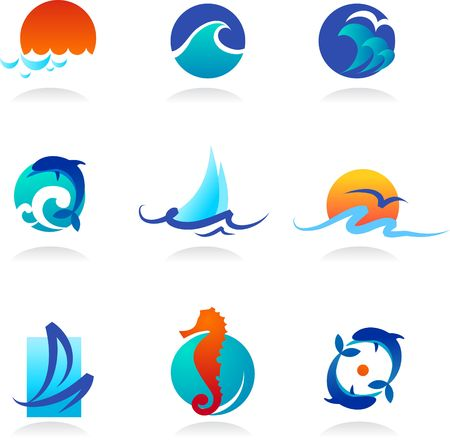 A set of elegant icons  - sea theme photo