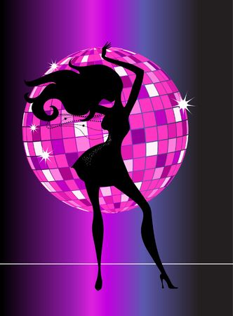 A black silhouette of a dancing woman with a disco ball on a background photo