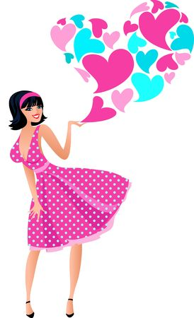 Romantic girl image in fifties style for Valentine day photo
