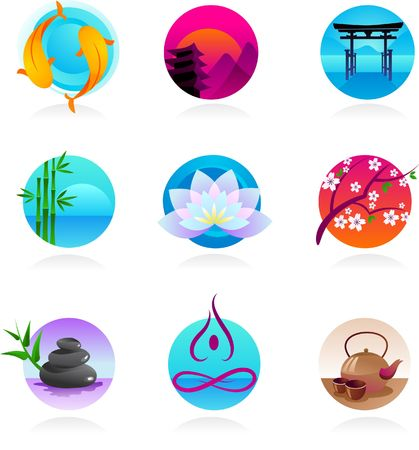 oriental medicine: A set of icons in Chinese, Japanese and Indian style - spirituality and wellness theme Stock Photo