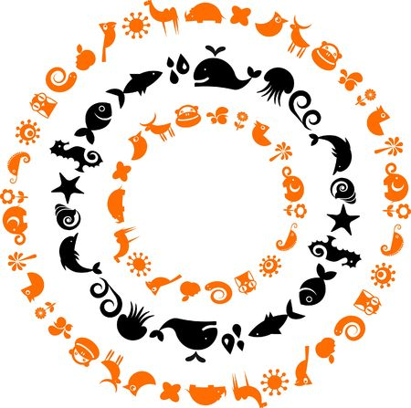 A set of black and orange signs and symbols - ecology and environment theme photo