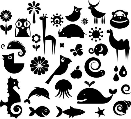 A set of black and white silhouette of birds, animals and flowers photo