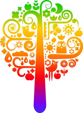 Colorful tree with icons of birds, butterflies and flowers Stock Photo - 6294319