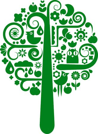 Green cutout tree with silhouettes of birds, butterflies and flowers photo