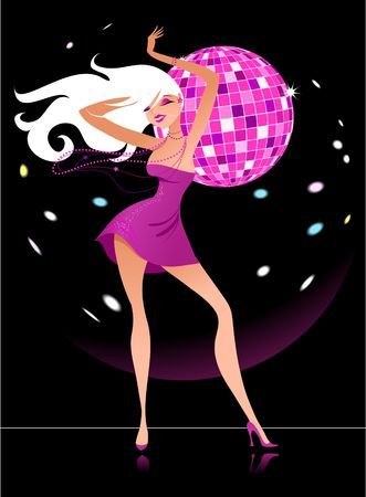 mirrorball: Sexy figure of a blond girl with a mirrorball at the background