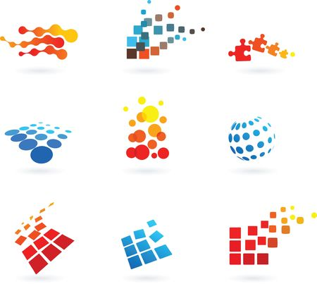 web design icon: collection of modern abstract dotted design elements
