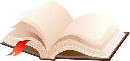 A books with brown cover and red ribbon Stock Photo - 6325604