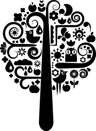 tree symbol: Cutout tree with icons of birds, butterflies and flowers