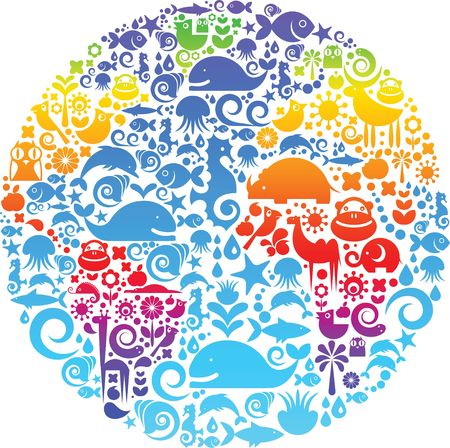 Collection of environmental signs and symbols on a background of colorful Earth Stock Photo - 6325609
