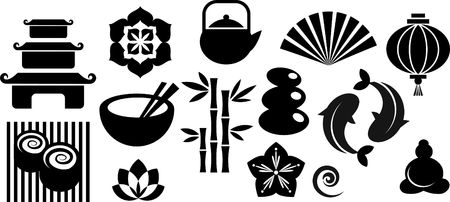 Collection of black and white Zen icons - vector illustration  illustration