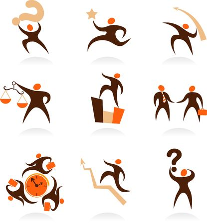 Collection of abstract people figures, logos and icons - business and economy photo