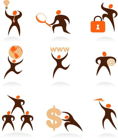 Collection of abstract people figures, logos and icons - internet and SEO
