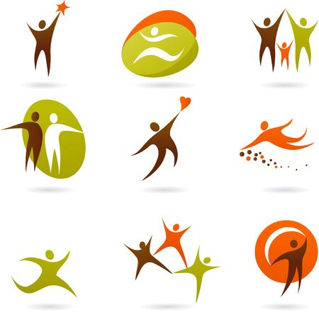 Collection of abstract people figures, logos and icons Stock Photo