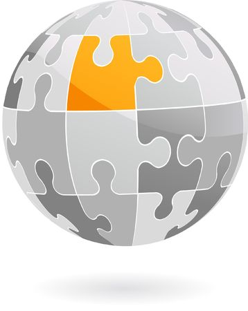 Abstract 3D puzzle globe design element