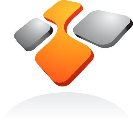 logo informatique: �l�ment de conception abstraite de carr�s 3D