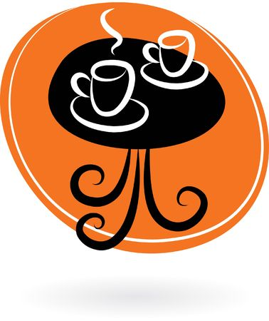 Coffee table with two cups on orange background photo
