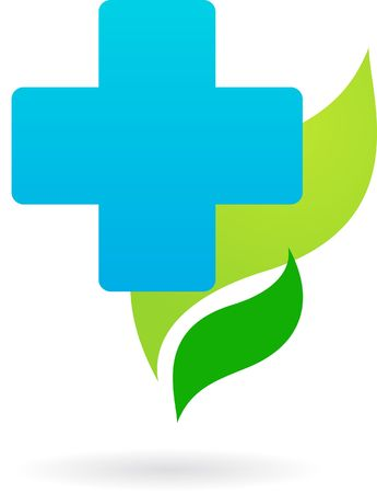 pharmacy icon: Humanitarian  Blue cross on a green leaves background Stock Photo