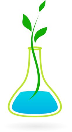 Medical symbol with green branch and glass tube  photo