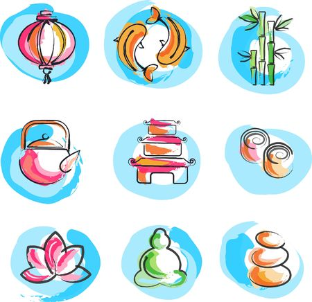 A set of icons in Chinese and  Japanese style - spirituality and wellness theme photo