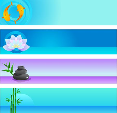 A set of vector banner templates in Chinese and Japanese  - spirituality and wellness theme photo